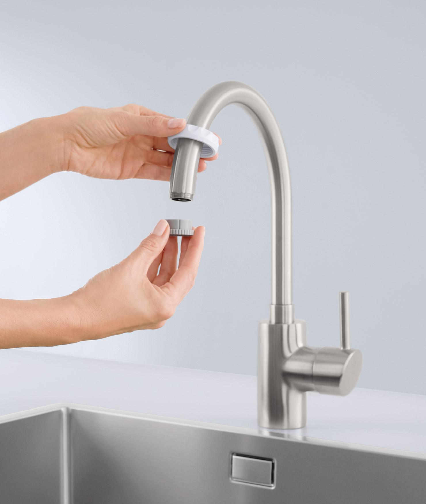 BRITA On Tap Water Filter is being installed.