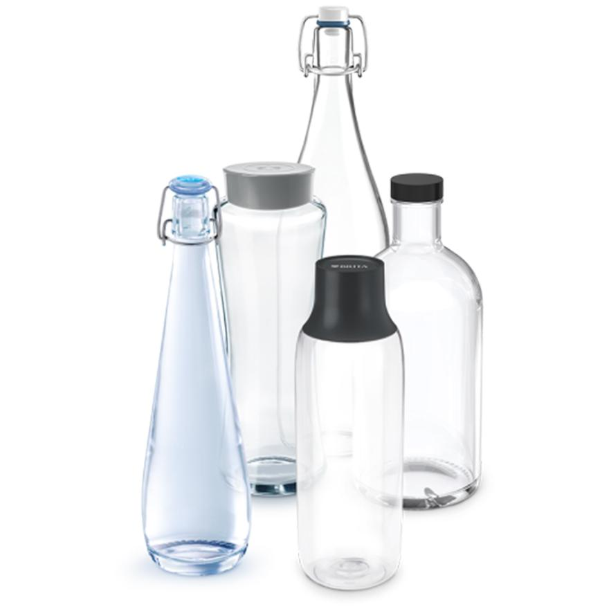 Bestaand uit BRITA Glazen flessen.