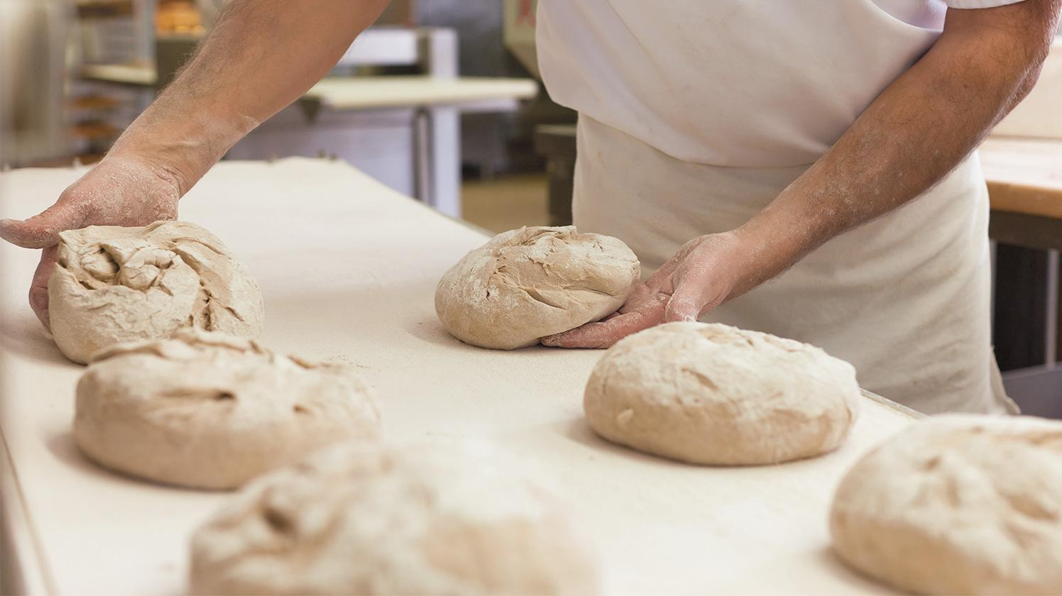 BRITA water coffee shop and bakery making bread