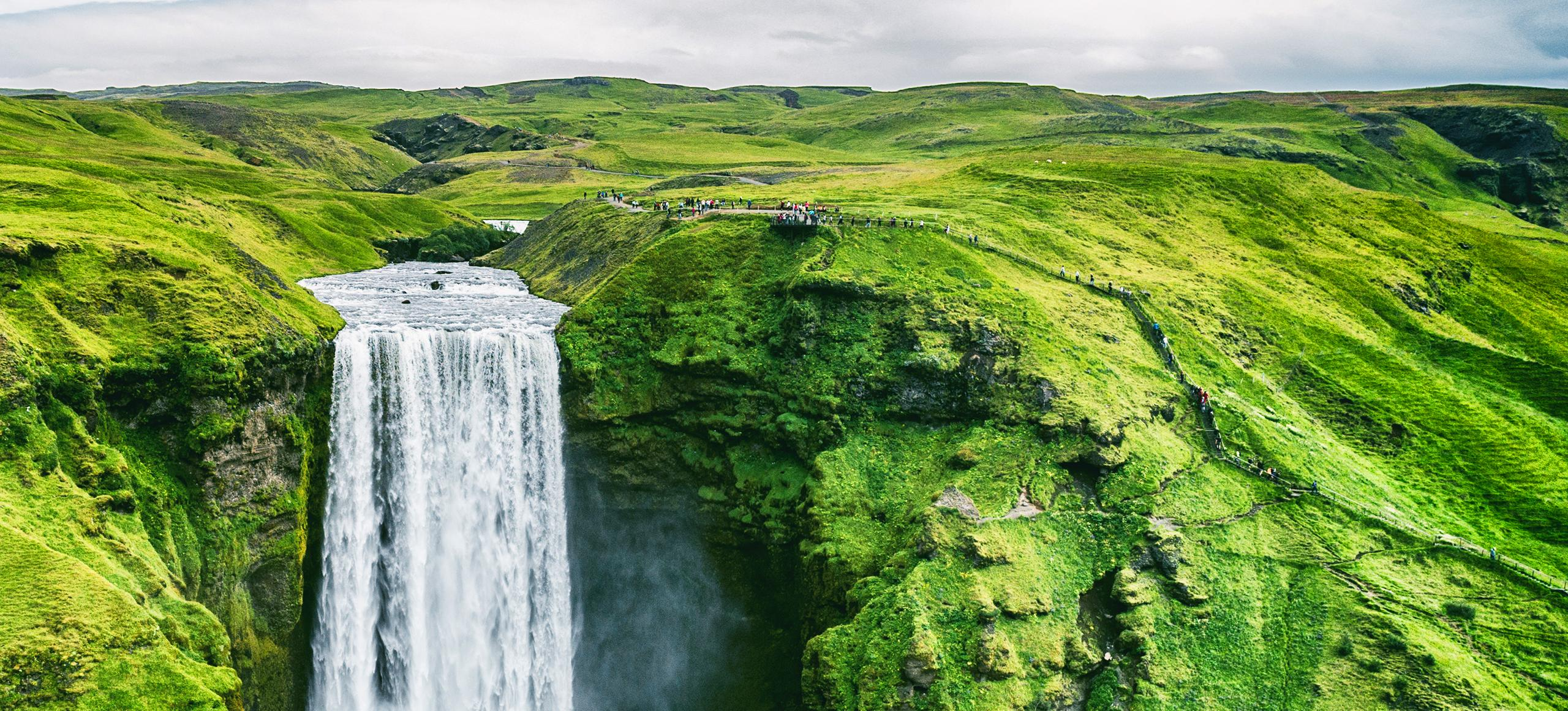 Green landscape with waterfall