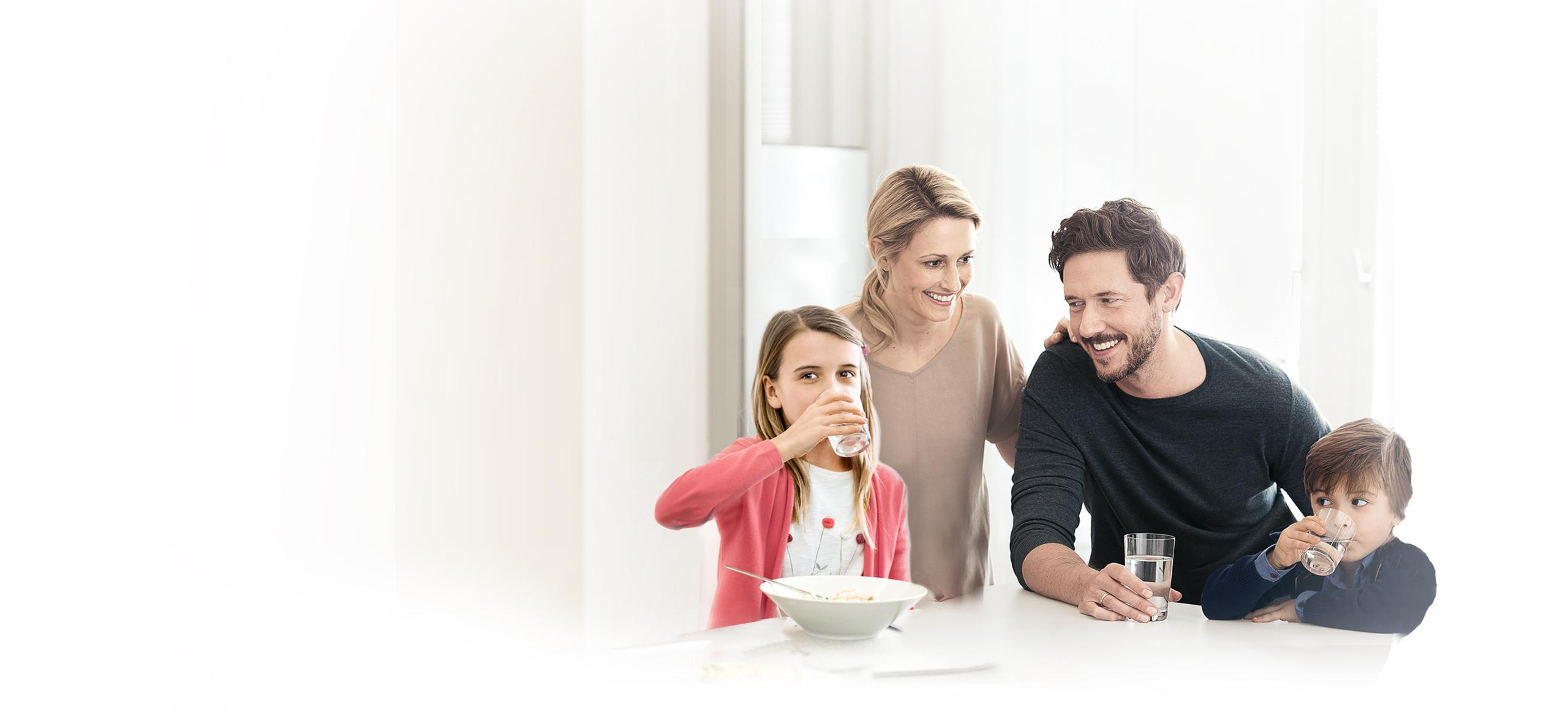 Family around kitchen table